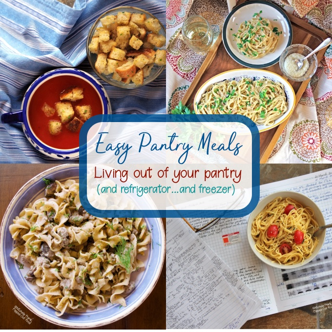 Sample Easy Pantry Meals (clockwise): Vegan Pantry Tomato Soup, Pantry Linguine with Clam Sauce, Healthy Dorm-Room Microwave Pasta, and One-Pot Ground Beef Stroganoff.