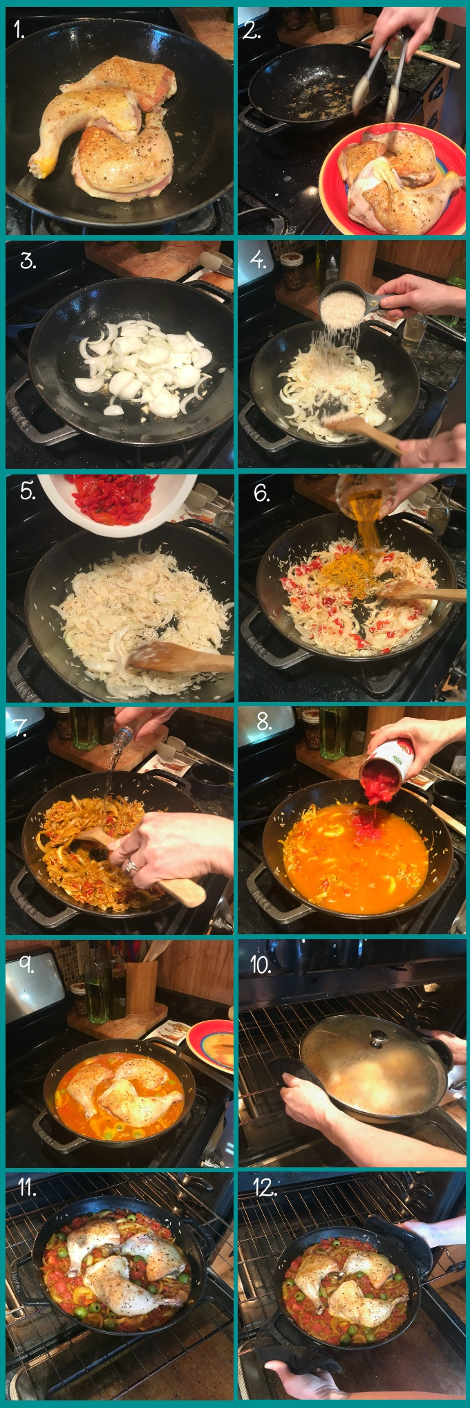 How to make One-Pan Arroz con Pollo. 1. Preheat oven to 350 degrees F. In a deep, heavy-bottomed skillet or Dutch oven, warm the vegetable oil over medium-high heat. Add the chicken, skin side down. Cook until golden brown on both sides, about 5 minutes per side. (2) Reduce heat to medium-low; remove chicken to a plate and reserve. (3) Wipe excess fat from the pan, then add the onions and sauté until soft and translucent, 6-8 minutes. Add the garlic; sauté for an additional minute. (4–5) Add the rice and roasted pepper to the skillet; sauté 1 minute. (6) Add the spices; sauté an additional minute. (7) Carefully add the wine and stir until absorbed, scraping any brown bits from the bottom of the pan. (8) Add the chicken broth, olives, and tomatoes to the skillet; bring to a simmer. Allow to simmer for about 30 seconds. (9) Arrange the chicken on top of the rice, skin side up. (The dish will be quite soupy at this point and the chicken will be partially submerged. No worries! The rice will absorb it all!) Pour any accumulated juices over the top. (10) Lid the skillet and place in the oven. Bake for 35 minutes. (11) Remove the lid and bake an additional 10-15 minutes (45-50 in total), or as necessary until the chicken is cooked through (165 degrees F), liquid is absorbed, and the rice is tender. (12) Remove from the oven and allow to rest for 10 minutes. Squeeze lemon juice over the dish and serve. Enjoy!