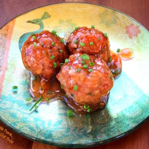 Sweet Zingy Asian Meatballs on beautiful appetizer plate
