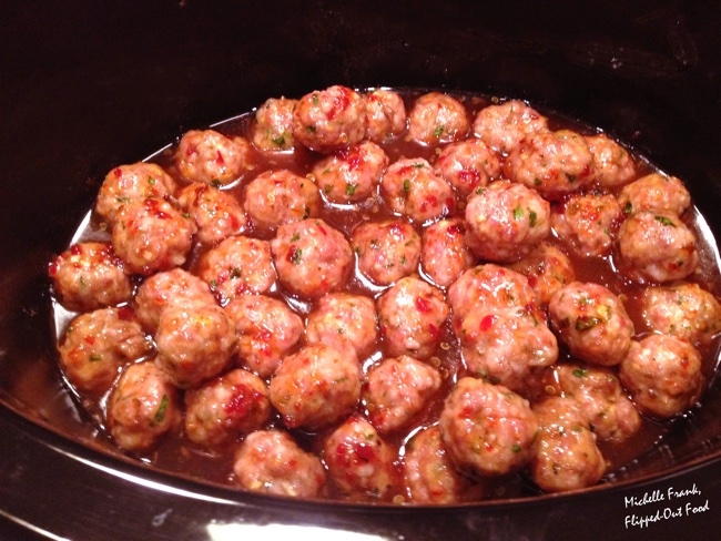 sweet zingy Asian meatballs in the crockpot