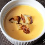 beer-cheese soup with pretzel croutons