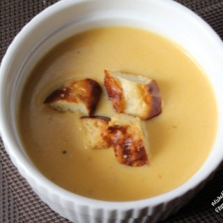 beer cheese soup pretzel croutons