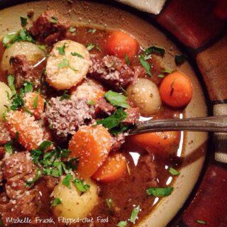 vintage beef stew serving