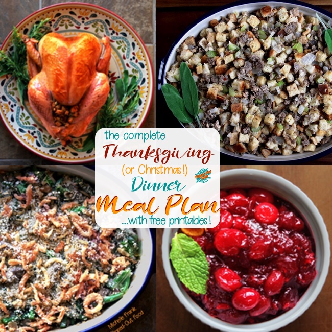 thanksgiving dinner meal plan collage