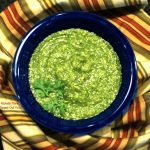 Fresh salsa verde top view. Salsa verde is a delicious, complex salsa that gets rich flavor from charring the peppers and onions. #salsaverde #salsa #dip #partyfood #mexicanfood @FlippedOutFood