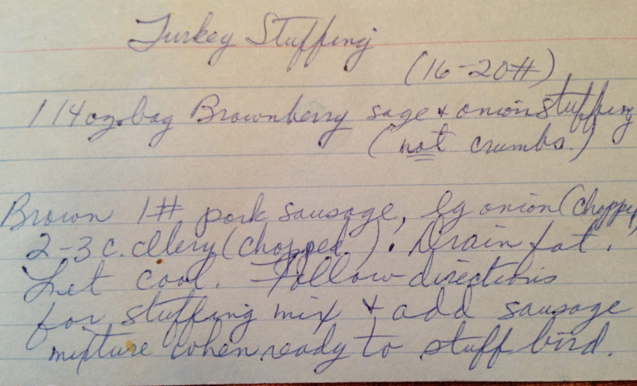 recipe for Thanksgiving stuffing