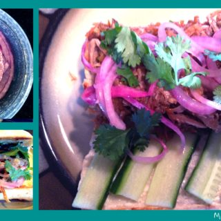 crockpot banh mi sandwiches: the pickled red onion, open-faced, and ready-to-eat.