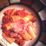 easy Bolognese sauce over rigatoni