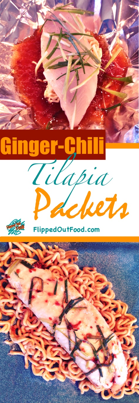 Ramen Ginger-Chili Tilapia Packets take about 40 minutes—and they're a cinch to put together. It's a perfect balance of acidity, umami, and heat.
