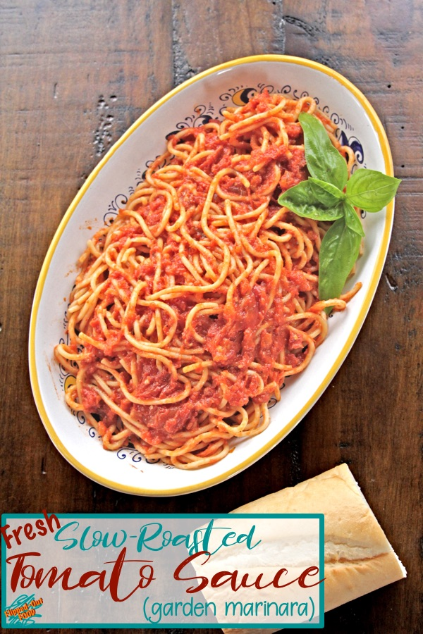 An easy recipe for Slow-Roasted Tomato Sauce. Great over pasta, or as the base for Bolognese Sauce. Freezes well for an easy meal anytime! Also known as a fresh or garden marinara sauce. #italianfood #marinarasauce #tomatosauce #flippedoutfood #healthyeating #gardentomatosauce