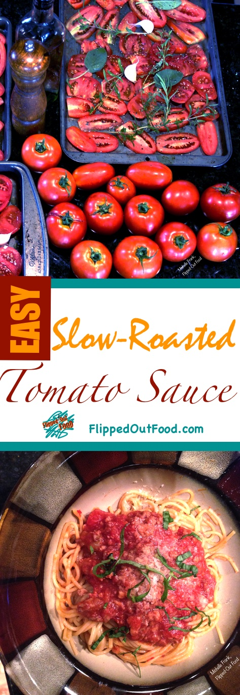 An easy recipe for Slow-Roasted Tomato Sauce. Great over pasta, or as the base for Bolognese Sauce. Freezes well for an easy meal anytime!