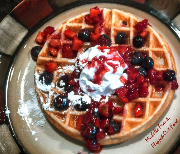 best-ever waffles brunch breakfast: waffle with berry sauce and whipped cream