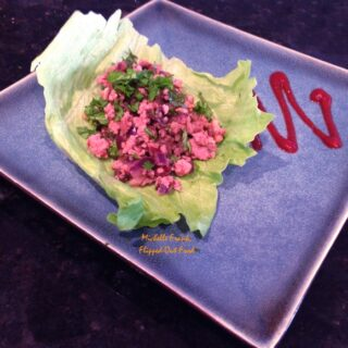 Asian Pork Wraps with lettuce
