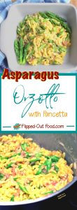 asparagus orzotto with pancetta pin collage