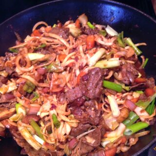 kohlrabi noodle stir-fry