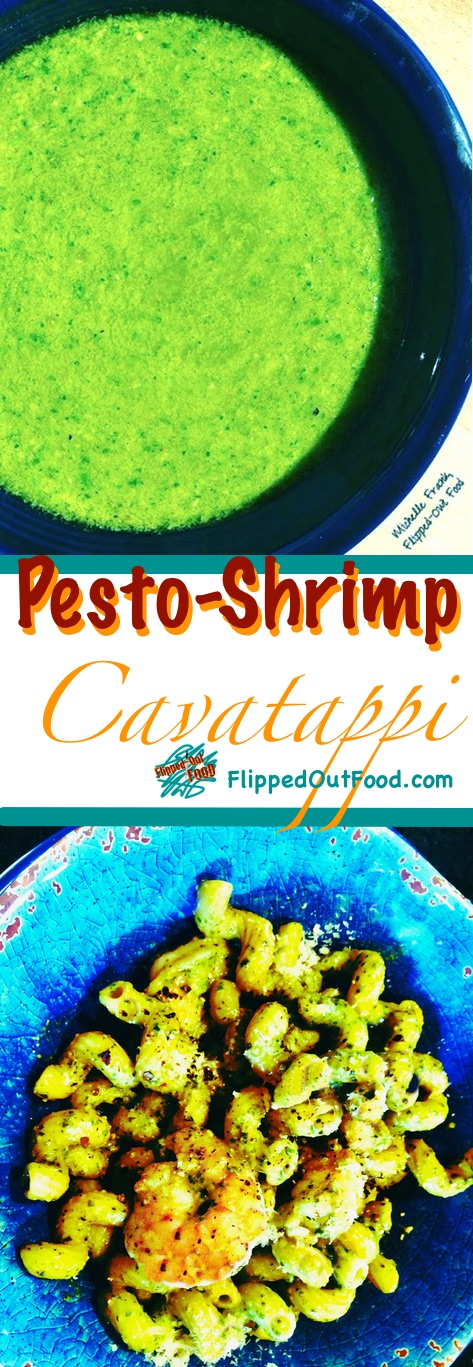 Pesto-Shrimp Cavatappi is a bright, delicious meal with lots of healthy protein from the shrimp and Omega 3 fatty acids from the olive oil.