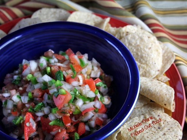 pico de gallo closeup with chips