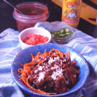 Enchilada Bowls with Sweet Potato Noodles