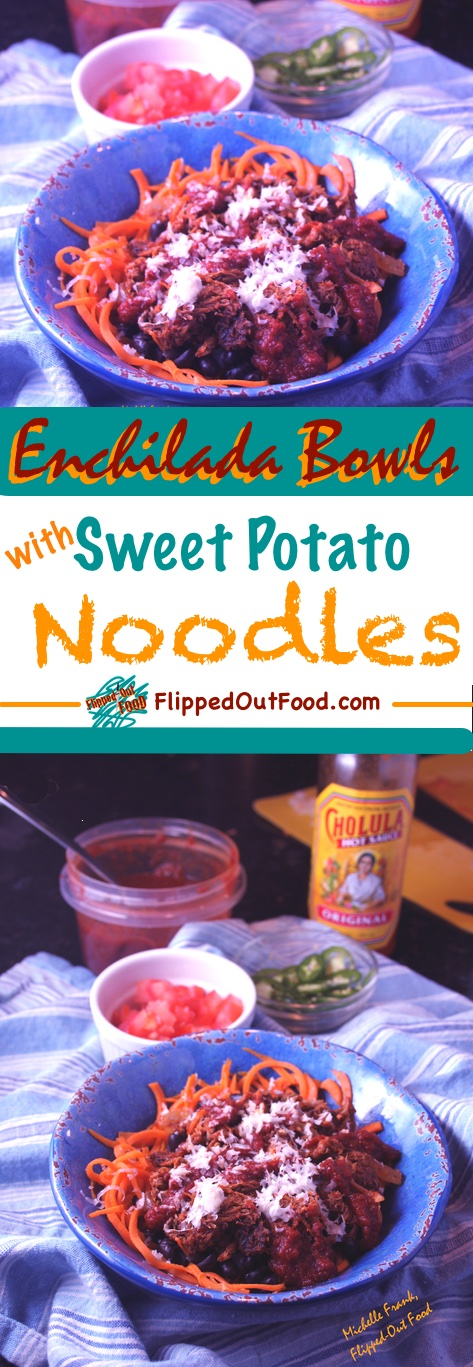 My enchilada bowls are a healthy, fast meal that pairs sweet potato noodles with black beans, smoky enchilada sauce, your choice of meat, & cotija cheese.