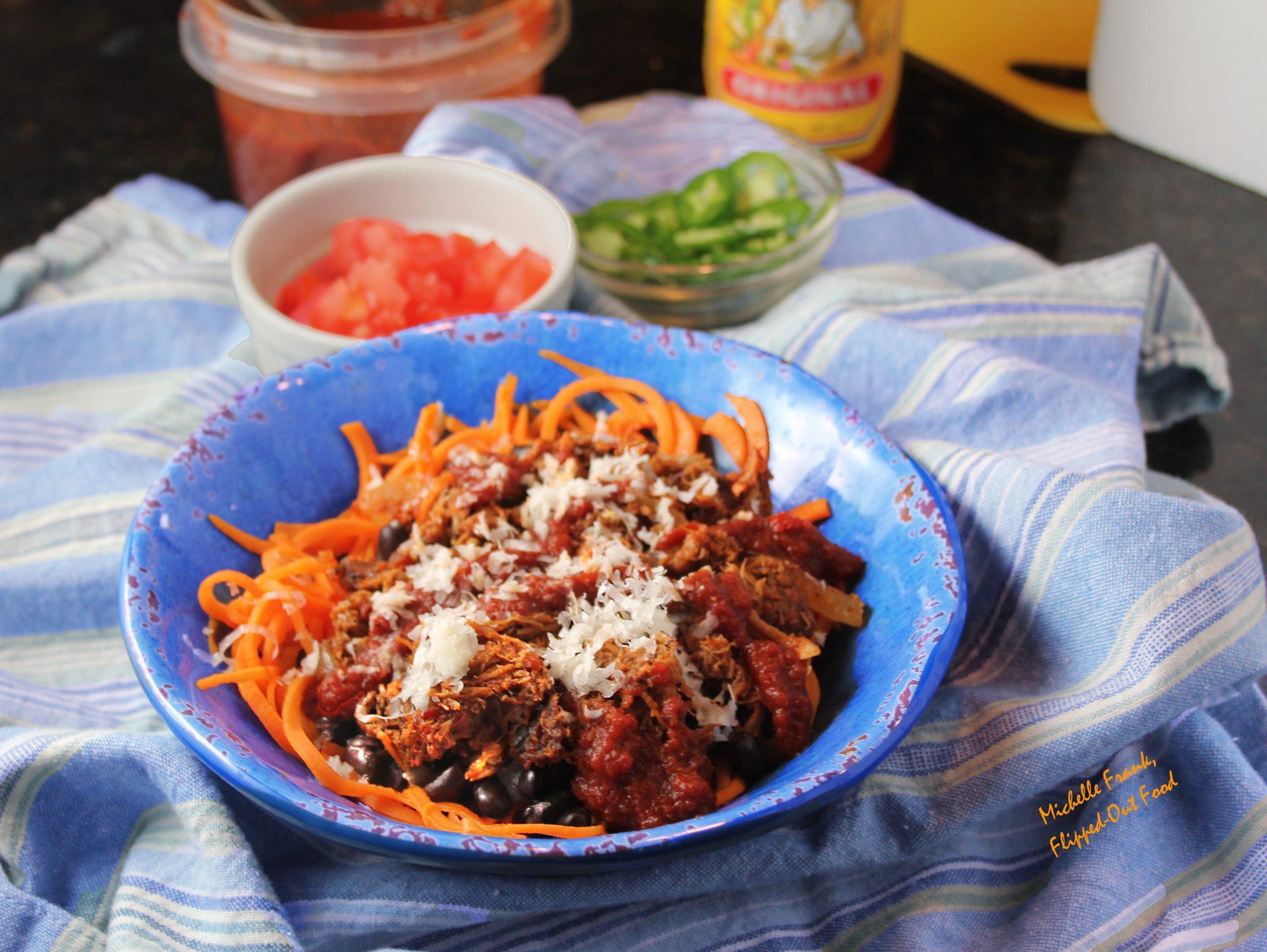 enchilada bowls with sweet potato noodles