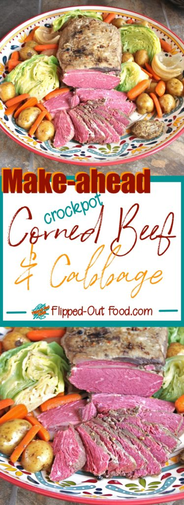 Pinterest collage showing make-ahead corned beef and cabbage with a dollop of grainy mustard #irishfood #cornedbeef #cornedbeefandcabbage #saintpatricksday #comfortfood #crockpot #slowcooker