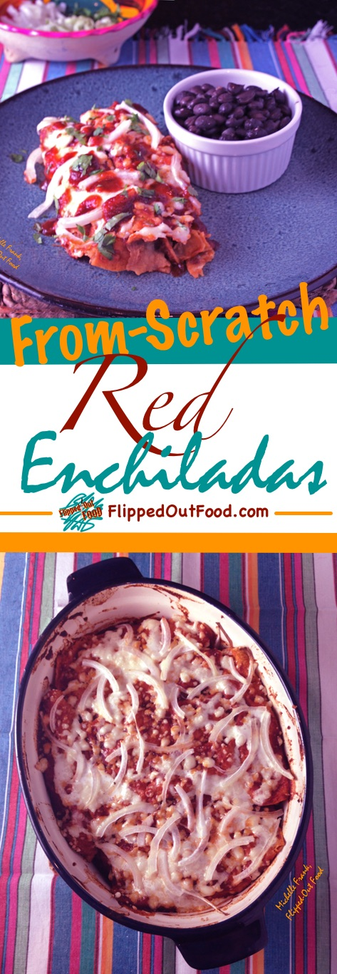 These easy red enchiladas come out of the oven bubbly and delicious. A great way to use up leftover meat. Turn them into chilaquiles for an even easier meal.