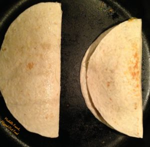 BBQ Chicken Quesadillas: two quesadillas ready to go into the skillet.