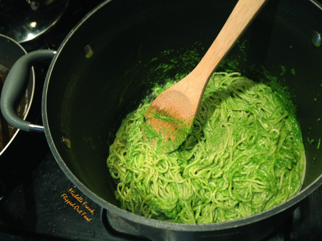 arugula-spinach pesto and spaghetti