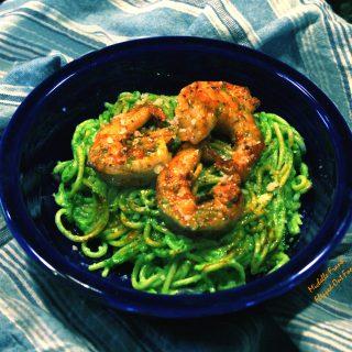 Arugula-Spinach Pesto with Shrimp