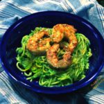 arugula spinach pesto with shrimp