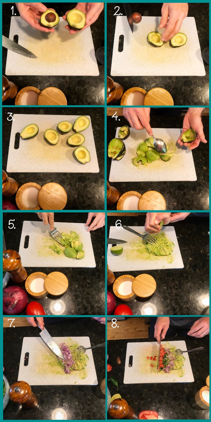 Lay the avocado down on the cutting board and make a cut into the avocado as if you're going to slice it in half lengthwise until you encounter the stone. Continue the cut around the entire fruit. Twist the two halves of the avocado apart to reveal the stone. Remove the stone using a teaspoon. Scoop the avocado flesh out onto the cutting board. Smash it with a fork. Squeeze lime juice over the avocado and add salt and pepper. Fold in whatever chopped additions you'd like (we add red onion, tomato, jalapeño, and cilantro).