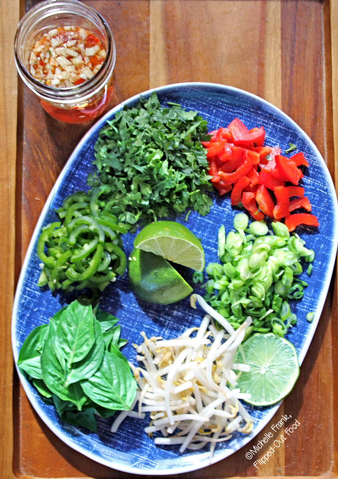 pressure-cooker pho ga meal-prep for condiments