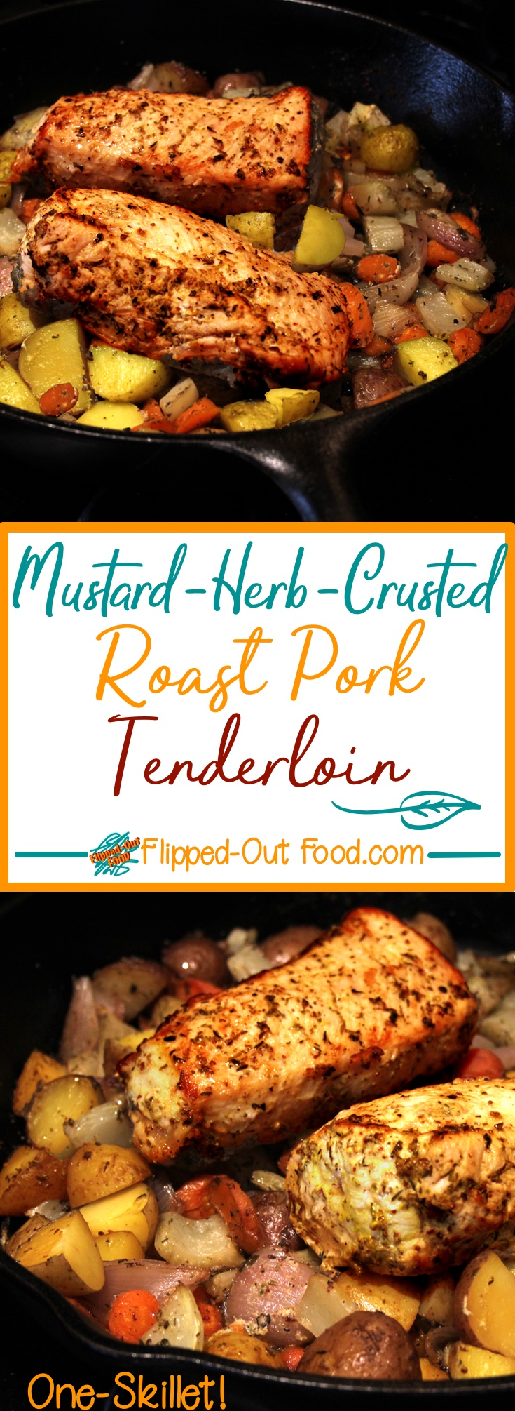 One-Skillet Mustard-Herb-Crusted Roast Pork Tenderloin with Root Vegetables is done in under an hour, making it quick and easy enough for a weeknight!