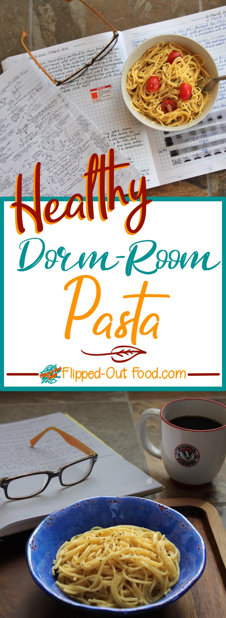 Healthy Dorm-Room Microwave Pasta only takes a microwave and a microwave-safe pasta cooker. Done in <10 minutes, it could also be called