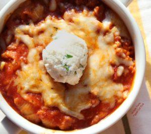 Baked Lasagna Bowls closeup
