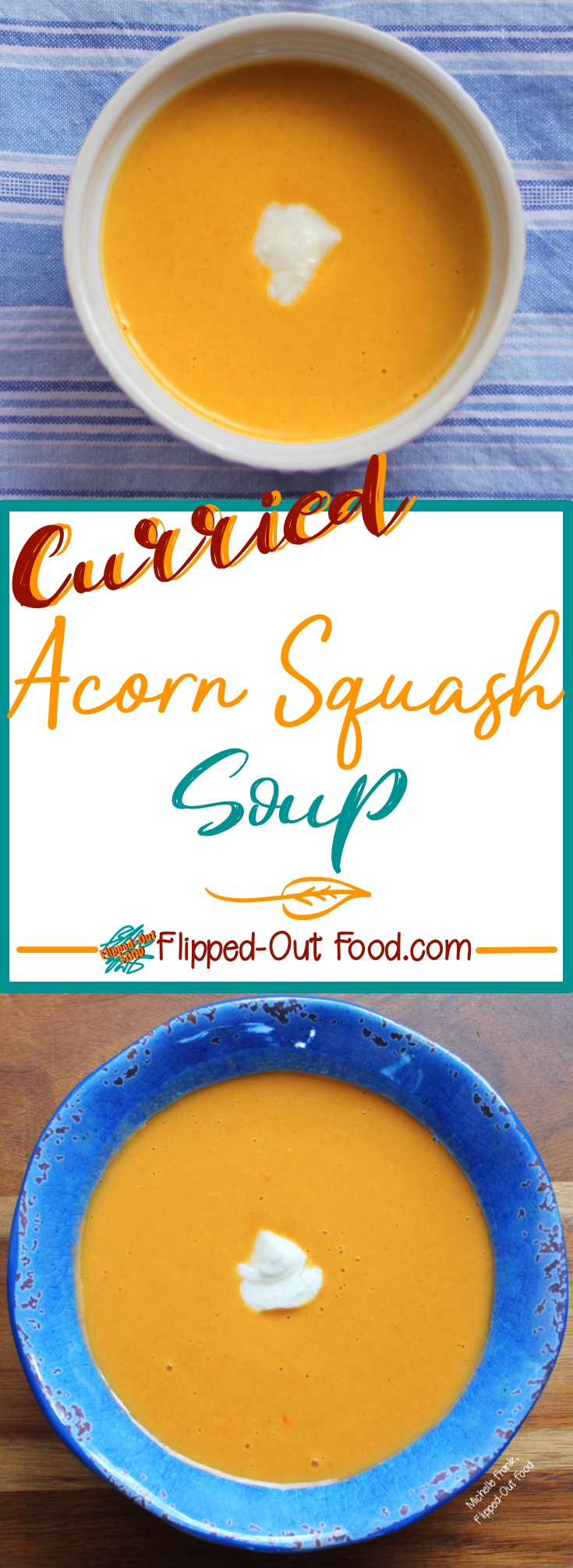 Curried Acorn Squash Soup is a delicious, healthy, vegetarian option for lunch or a light dinner. Or, serve it in shot glasses for a fun party appetizer.