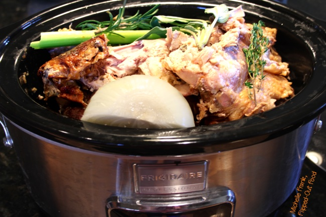 Crockpot Turkey Stock in the slow-cooker