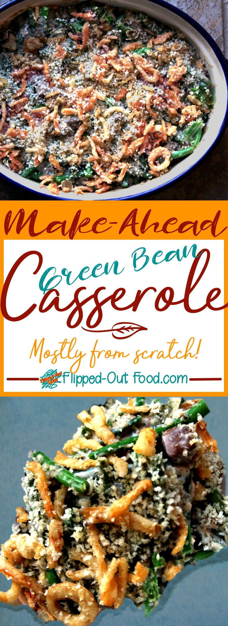 Make-Ahead Green Bean Casserole is made with fresh green beans and a homemade cream-of-mushroom soup that is delicious enough to be eaten on its own.