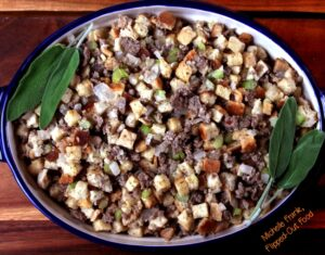 Thanksgiving Dinner meal plan: easy sausage stuffing in baking dish