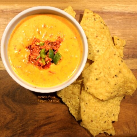 feisty chile con carne dip with chips