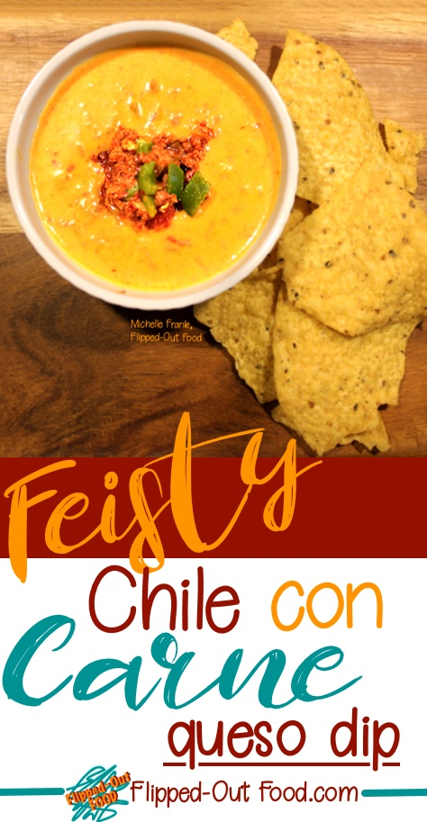 feisty chile con carne queso dip pin