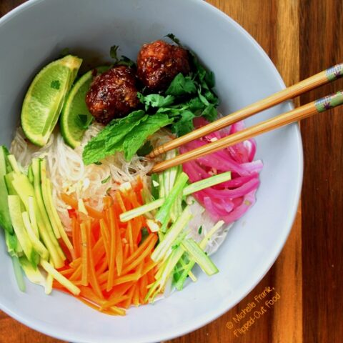 Meal-prep Meatball Vietnamese Noodle Bowls sample serving with chopsticks