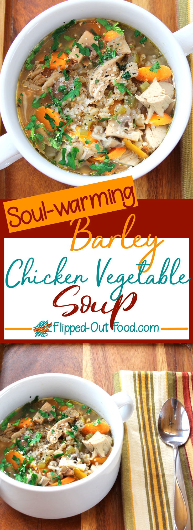 Barley Chicken & Vegetable Soup is just what the doctor ordered for a warm-up on cold days. Since the soup starts with cooked chicken, it can be done in just about an hour—just be sure to soak the barley overnight. OR, use my suggested modifications to make the soup in your slow-cooker. #comfortfood #cleaneating #healthyeating #barleysoup #chickensoup #crockpot #slowcooker