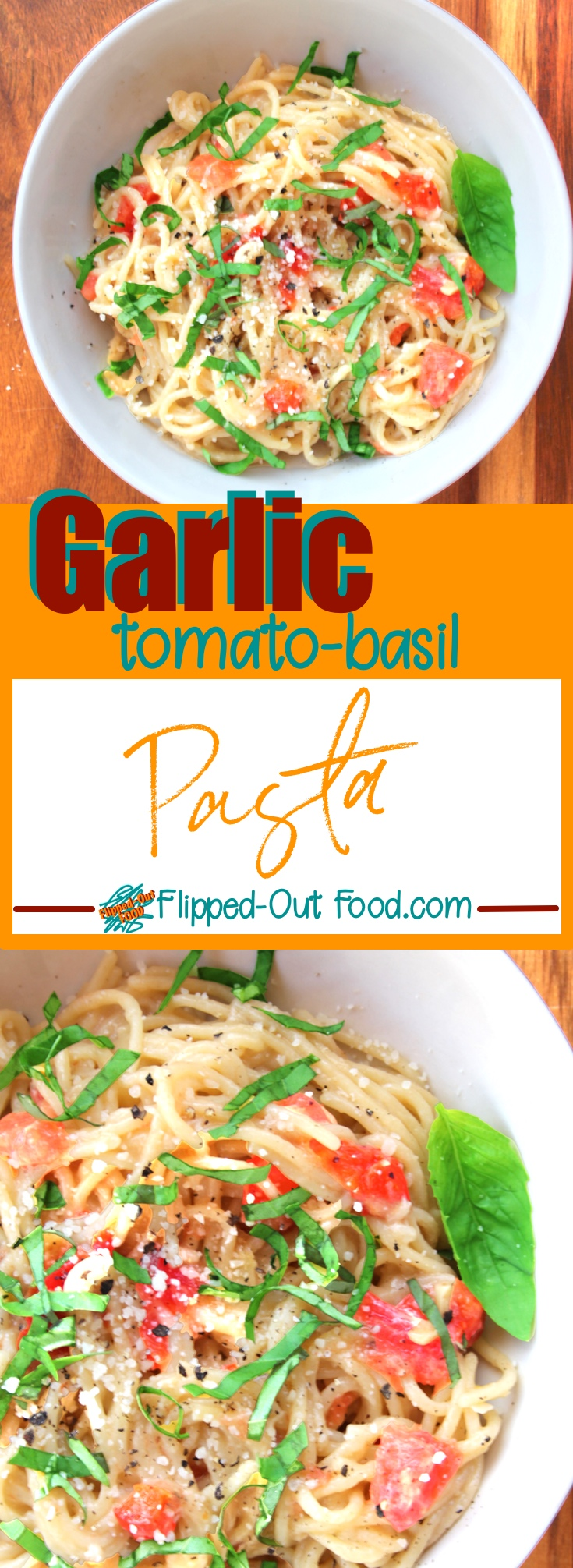 Easy Garlic-Tomato-Basil Pasta is done <25 minutes. The pasta finishes cooking right in the light sauce, made creamy with pasta water and Romano cheese. #quickdinner #easydinner #italianfood #pasta #tomato #basil #garlic