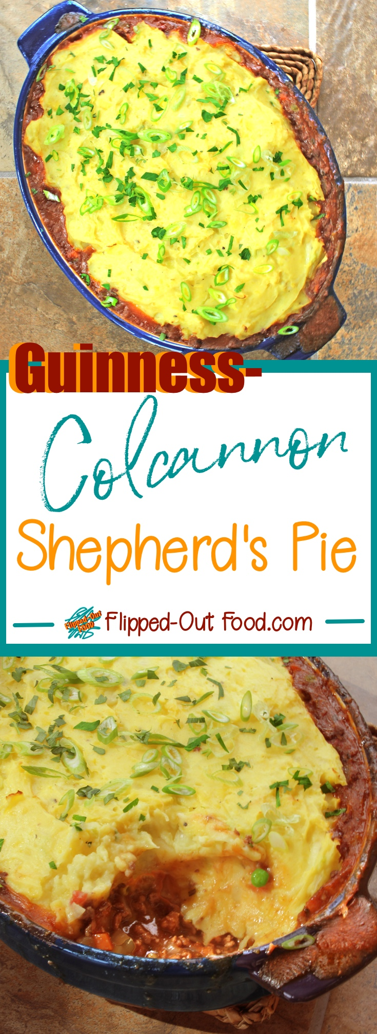 Guinness-Colcannon Shepherd's Pie is pure, decadent Irish comfort food. The filling and colcannon can be prepared and the pie assembled a day or two in advance for an easy meal on St. Paddy's Day. #irishfood #shepherdspie #cottagepie #saintpatricksday #comfortfood