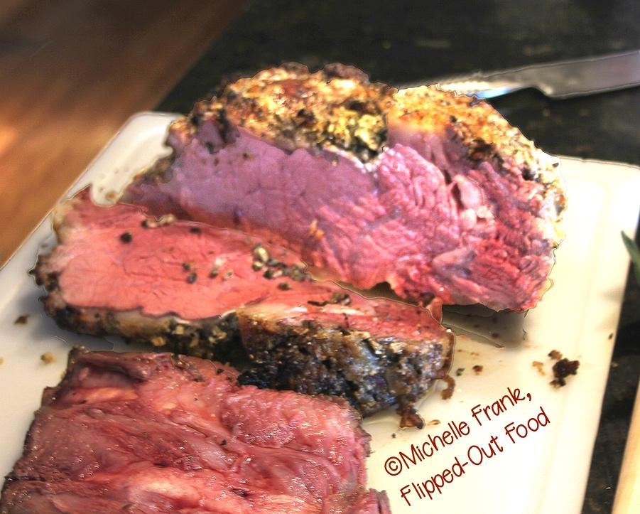 Date Night Prime for 2 sliced up on the cutting board. Rare in the center and medium-rare on the ends. Just the way we like it! #primerib #datenight #romanticfood #easterdinner #christmasdinner
