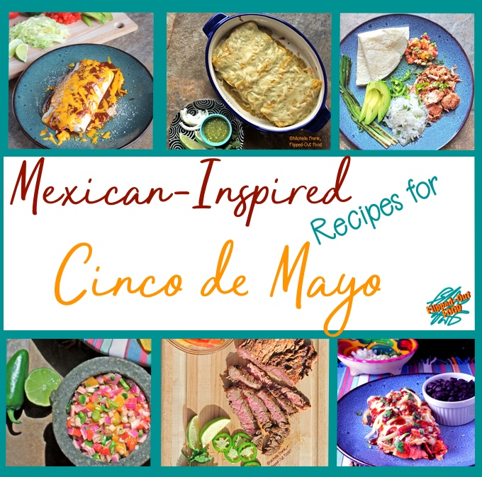 A collection of our favorite Mexican-Inspired Recipes for Cinco de Mayo. Pictured in the collage are Lightened-Up Smothered Burritos, Green Chile Chicken Enchiladas, Slow-Cooker Mojo Pork Carnitas, Red Enchiladas or Chilaquiles, Carne Asada, and Fiery Mango-Habanero Salsa.