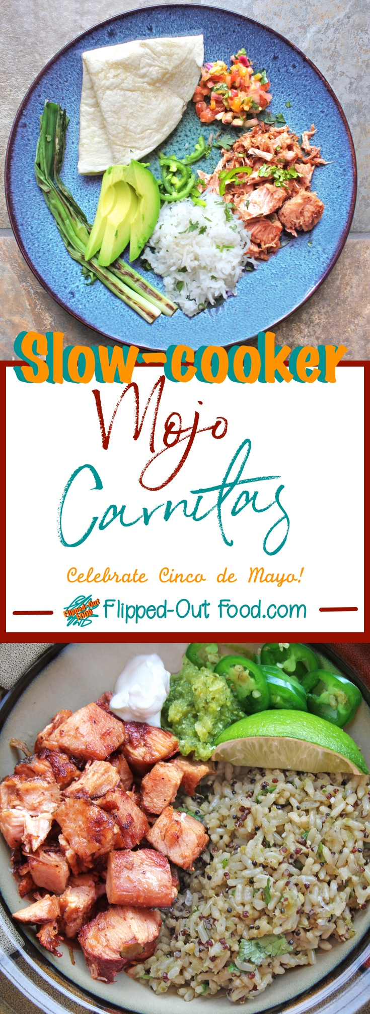 Slow-Cooker Mojo Carnitas are an easy weeknight meal, but flashy enough for a weekend dinner party. Great for serving buffet-style to a crowd! #carnitas #mexicanfood #slowcooker #crockpot #partyfood #cincodemayo