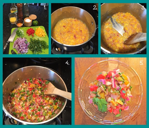 Photos illustrating steps for making Fiery Mango-Habanero Salsa