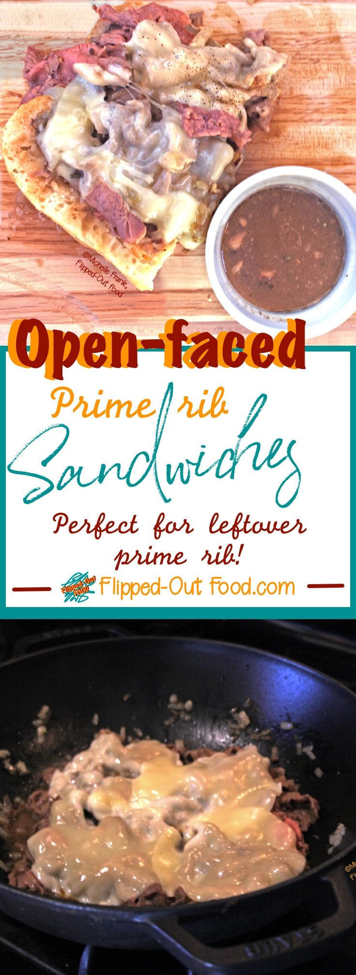 Open-Faced Prime Rib Sandwiches: the perfect way to use up leftover Prime Rib! The meat is mixed with caramelized onions, then provolone cheese melts on top. #leftovers #primeribsandwiches #pubfood